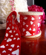 3.8cm Flock Heart satin Ribbon Love Valentine 25 Yard Roll