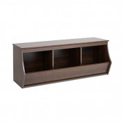 Hawthorne Collections Stackable 3-Bin Storage Cubby in Rich Espresso