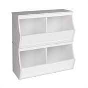 Hawthorne Collections Stacked 4-Bin Storage Cubby in White