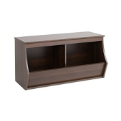 Hawthorne Collections Stackable 2-Bin Storage Cubby in Rich Espresso