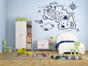 Wall Decal Sticker Bedroom Pirate Map Treasure Gold Island Cartoon Kids Girls Boys Teenager Room 439b