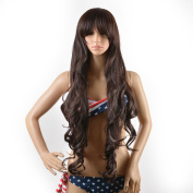 Hair Wigs for Women, Image Long Full Hair Extensions, Curly Wavy Glamour Brown Wig with Wig Cap, Wig Comb and Rubber Band