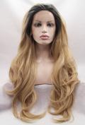 Ebingoo Synthetic Wavy Golden Blonde Ombre Wig Dark Roots Half Hand Tied Lace Front Wigs Heat Resistant Hair