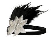 Cougar's Choice Flapper Headband 1920s Headpiece Black Rhinestone Pearl Headband for Women