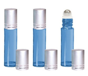 Grand Parfums Light Blue 10ml Glass Roll on Bottles with Stainless Steel Rollers Set of 6, Essential Oil, Perfume Bottles