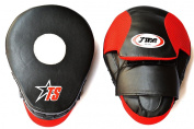 T-Sport Curved PU Boxing, Martial Arts Focus Mitts - Black/Red - Size 25cm