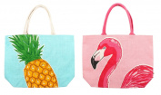 Hot Pink Flamingo and Yellow Pineapple Jute Tote Bags Set of 2