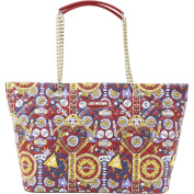 Love Moschino Women's Red Multi Pinball Patterned Quilted Shoulder Tote Handbag