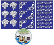Grape Stencils for Etching Wine Glasses & Bottles (3 pack) + Free How to Etch CD