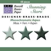 Bazzill Monocramatic Star Brads Assortment - Aspen Green