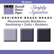 Bazzill Monocramatic Blackberry Square Brads Assortment