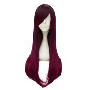 Lolita Ombre Magenta Purple 70cm Long Straight Fashion Girls Lady Heat Resistant Wig+Cap