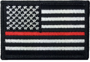 Tactical USA Flag Firefighter Fire and Rescue EMT EMS Thin Red Line Patch - Black White 5.1cm x 7.6cm Hook and Loop Fasteners Backing - By Hello Bangkok