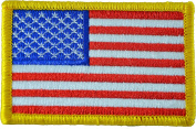 Tactical USA Flag Patch - Gold Border 5.1cm x 7.6cm Touch Fastener Hook and Loop Backing - By Hello Bangkok 5.1cm x 7.6cm Touch Fastener Hook and Loop Backing - By Hello Bangkok