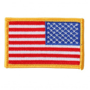 RIGHT ARM FLAG YELLOW, Iron-On / Saw-On High Thread Rayon PATCH - 7.6cm x 5.1cm , Exceptional Quality