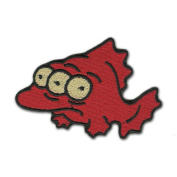 Simpsons Three Eyed Fish 8.9cm Logo Sew Ironed On Badge Embroidery Applique Patch