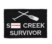 St Creek Survivor Hook & Loop Tactical Funny Morale Tags Patch Black & White