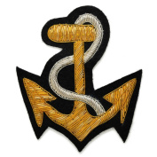 Anchor Bullion Wire Embroidered Badges, Sew-on Applique Patch by 1 pc, 10cm x 8.9cm , CRE-1080