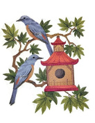 Nature weaved in threads, Amazing Birds Kingdom [ Blue Rock Thrushes and Birdhouse ] [Custom and Unique] Embroidered Iron on/Sew patch [25cm 22cm ] [Made in USA]