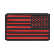 US MILITARY FLAG UNIFORM PATCH PVC RUBBER REVERSE BLACK AND RED