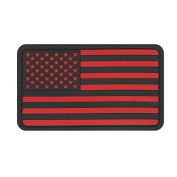 US MILITARY FLAG UNIFORM PATCH PVC RUBBER FORWARD BLACK AND RED