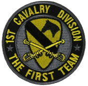 1ST CAVALRY DIVISION THE FIRST TEAM ROUND PATCH - Colour - Veteran Owned Business.
