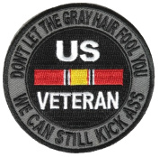DON'T LET THE grey HAIR FOOL YOU NATIONAL defence RIBBON ROUND PATCH - Colour - Veteran Owned Business.