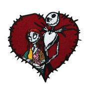 Jack & Sally Love Stitch Heart Iron-On Patch Nightmare Before Christmas Applique