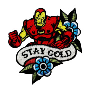 "Retro Iron Man Fan ""Stay Gold"" Iron-On Patch Marvel Superhero Character Applique"