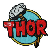 """Retro Marvel """"The Mighty Thor"""" Hammer Iron-On Patch Comic Fan Apparel Applique"""