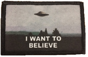 I Want To Believe X Files Morale Patch. Perfect for your Tactical Military Army Gear, Backpack, Operator Baseball Cap, Plate Carrier or Vest. 5.1cm x 7.6cm Hook and Loop Patch. Made in the USA