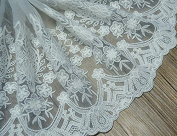 Ivory 3 Yards Vintage Floral Embroidery Mesh Lace Ribbon Shirt Slip Extender Curtain Sofa Decoration 23cm Wide