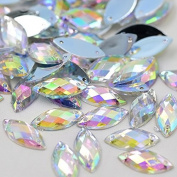 .   Horse Eye Shape Crystal AB Colour Clear Sew On Acrylic Rhinestones Flatback Fancy Crystal Stones Sewing For Clothing Dress Decorations 6x12mm 300pcs