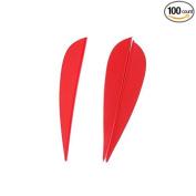 100 PCS Length 7.6cm Plastic Red Arrow Vane Fletching for DIY Arrow Archery Bow