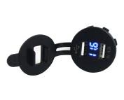 Bandc 12V/24V Voltmeter Voltage Metre & Dual USB ports Socket Plug Charger Blue Led