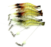 Hengjia 6pcs/lot luminous shrimp soft pike fishing lures wobble bass fishing baits pesca fishing tackles 7.5cm 6.6g