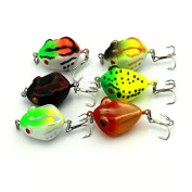 "Hengjia 6pcs/lot Toad Soft Plastic Fishing Lures Hollow Body Topwater Frog Bass Bait 4cm/1.57""/6g"