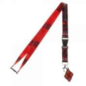 Suicide Squad Harley Quinn Good Night Reversible Breakaway Keychain Lanyard with ID Holder, Rubber Charm and Collectible Sticker