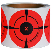 250 Mega-Pack 7.6cm Bullseye Target Stickers | Buy 1 Roll & Get 1 Free (125 Targets Per Roll - You Get a Whopping 250 Total) Neon Orange Self-Adhesive Targets for Shooting