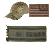 Mesh MultiCam Cap + USA PATCH COYOTE RIGHT + OD/Black Shemagh