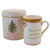 Spode Christmas Tree Sentiment Mug, When I Count My Blessing's, I Count You Twice by Spode