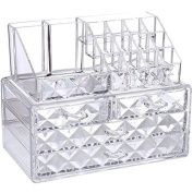 Ikee Design Diamond Pattern Acrylic Jewellery & Cosmetic Storage Display Boxes Two Pieces Set.