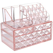 Ikee Design Acrylic Pink Diamond Pattern Jewellery & Cosmetic Storage Display Boxes Two Pieces Set.