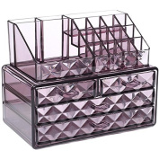 Ikee Design Acrylic Purple Diamond Pattern Jewellery & Cosmetic Storage Display Boxes Two Pieces Set.