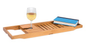Internet's Best Bamboo Bathtub Caddy | Extending Adjustable Sides | Reading Tray | Wine Glass Holder | Smart Phone Slot | Wood Bath Tray