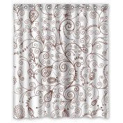 PILLO Polyester Shower Drape Of Leaf For Custom Girls Bf Girls. Anti Bacterial Width X Height / 60 X 72 Inches / W H 150 By 180 Cm