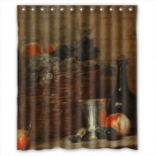 PILLO Bathroom Curtains Of Classic Still Life Art Painting Polyester Width X Height / 60 X 72 Inches / W H 150 By 180 Cm Best Fit For Valentine Girls Teens Gf. Waterproof Material. Fabri