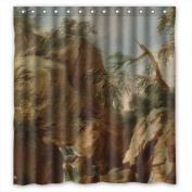 PILLO The Beautiful Scenery Landscape Art Painting Shower Curtains Of Polyester Width X Height / 66 X 72 Inches / W H 168 By 180 Cm Decoration Gift For Bf Wife Kids Boys Artwork Hotel. M
