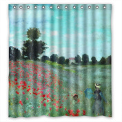 PILLO The Claude Monet Art Painting Bath Curtains Of Polyester Width X Height / 72 X 72 Inches / W H 180 By 180 Cm Decoration Gift For Valentine Boys Her Gf Hotel. Home Fashion