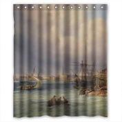 PILLO Polyester Shower Drape Of Beautiful Scenery Landscape Painting For Kids Boys Custom Kids Him Gf. Machine Washable Width X Height / 60 X 72 Inches / W H 150 By 180 Cm